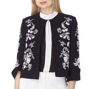 Tahari Embroidered Floral Print Crepe Jacket Black
